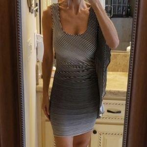Bebe asymetrical striped mini dress, XS